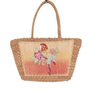 VINTAGE Straw Woven Tote Tropical Sequin Macaw